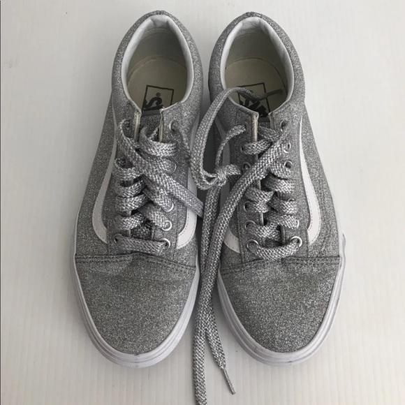 3cd4fe6a8748 Vans Old Skool Glitter Sneaker Silver Shoes. M 5c554073c9bf50acbd938109
